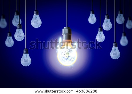 Idea concept background with light bulb. Unique or Different concept