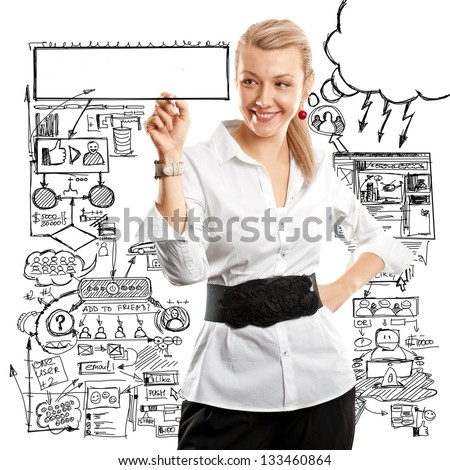 Idea concept, Business woman writing something on glass board with marker - stock photo