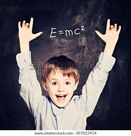 Idea Concept. Cute School Child Boy - stock photo