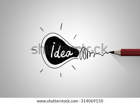 Idea concept image with pencil drawing light bulb - stock photo