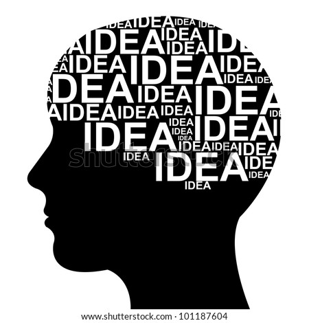 Idea Concept  in Brain Isolated on White Background - stock photo