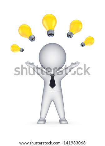 Idea concept.Isolated on white.3d rendered. - stock photo
