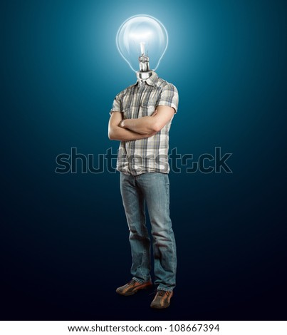 Idea concept, lamp head businessman have got an idea - stock photo