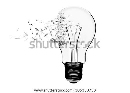 Idea Concept. Light Bulb Exploding on a white background - stock photo