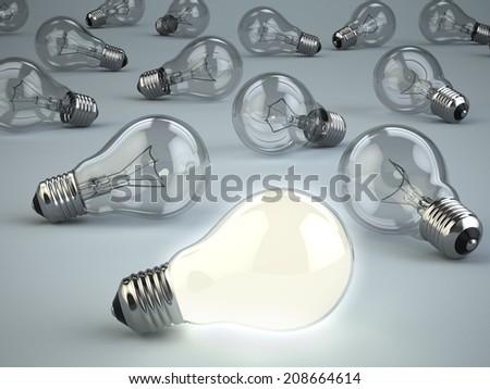 Idea concept. Light bulbs on grey background. 3d - stock photo