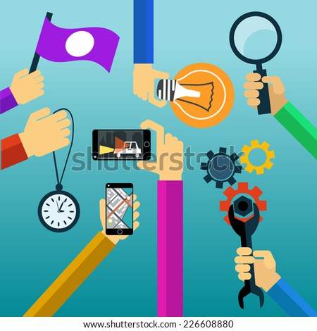 Idea concept lightbulb magnifying glass watch smartphone flat design cartoon style. Raster version - stock photo