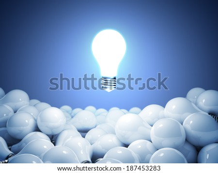Idea concept on a blue  background