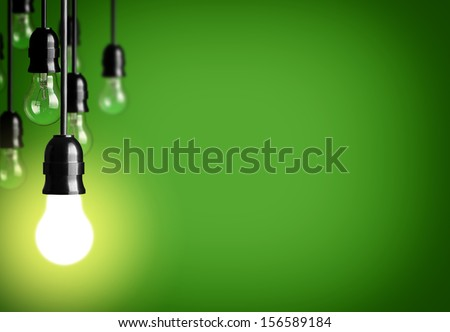 Idea concept on green background.  - stock photo