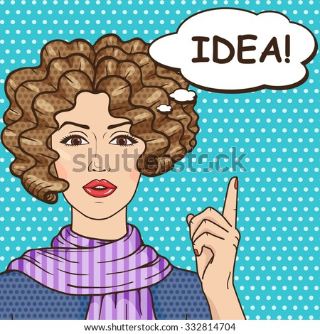 Idea concept, pop art girl thinking with speech bubble and message IDEA! Vintage curly hair brunette woman comic style. - stock photo