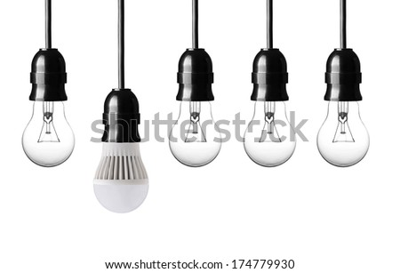 idea concept with bulbs on white background - stock photo
