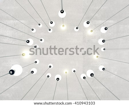 Idea concept with different light bulbs on concrete background. 3D Rendering