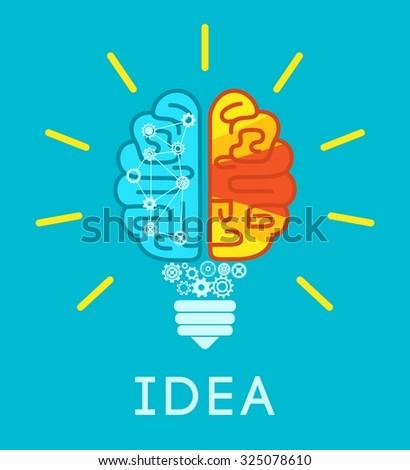 Idea concept with human brain in lightbulb shape flat  illustration - stock photo
