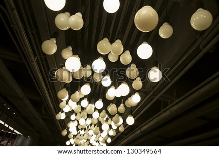 idea concept with light bulbs on a underview background - stock photo