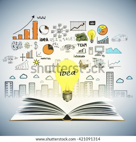 Idea concept with open book, illuminated lightbulb and colorful business sketch on wall. Creative business sketching. Abstract image containing education and business objects - stock photo