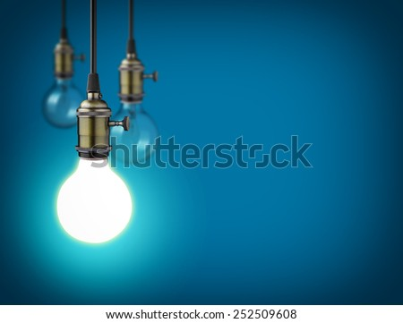 Idea concept with vintage light bulbs - stock photo