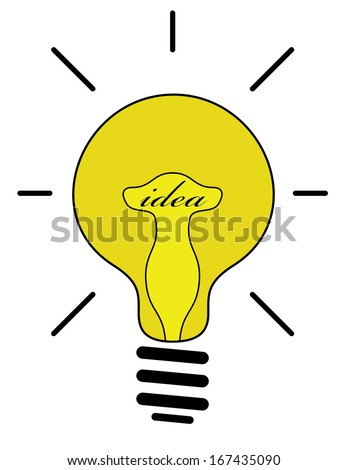 Idea concept with yellow light bulb, raster version. Isolated editable light bulb design with idea text.  - stock photo