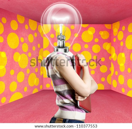 Idea concept, woman lamp head businesswoman with laptop in his hands