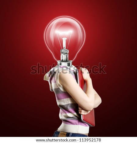 Idea concept, woman lamp head businesswoman with laptop in his hands - stock photo