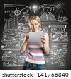 Idea concept. Woman with touch pad in her hands, with lamp above her head - stock photo