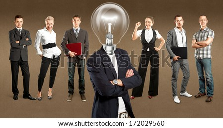 Idea cyber space concept. Lamp Head and Business team against different backgrounds - stock photo