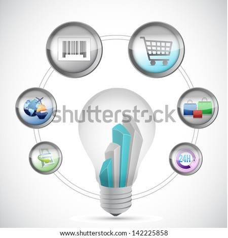 idea, E-Commerce and Online Shopping Concept illustration design over white - stock photo