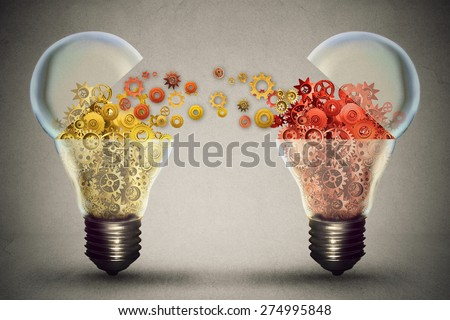 Idea exchange concept. Ideas agreement Investing in business innovation and financial commerce backing of creativity. Open lightbulb icon with gear mechanisms. Funding potential innovative growth  - stock photo
