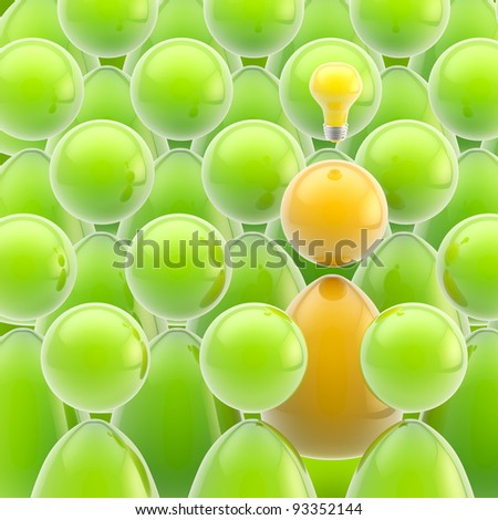 Idea generator: creative glossy yellow person in a green crowd - stock photo