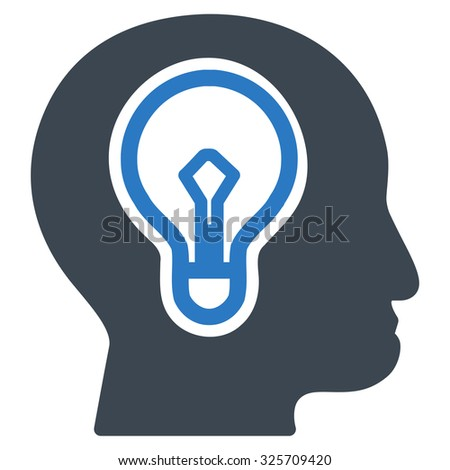 Idea glyph icon. Style is bicolor flat symbol, smooth blue colors, rounded angles, white background. - stock photo