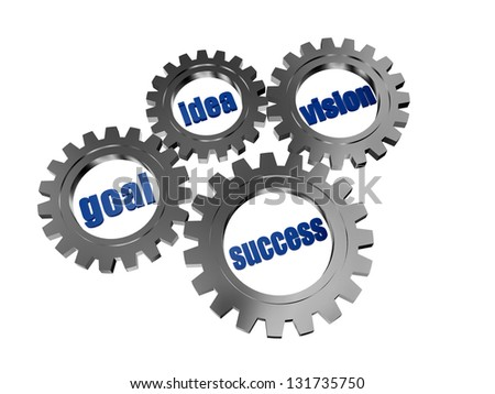 idea, goal, vision, success - business concept words in 3d silver grey gearwheels - stock photo