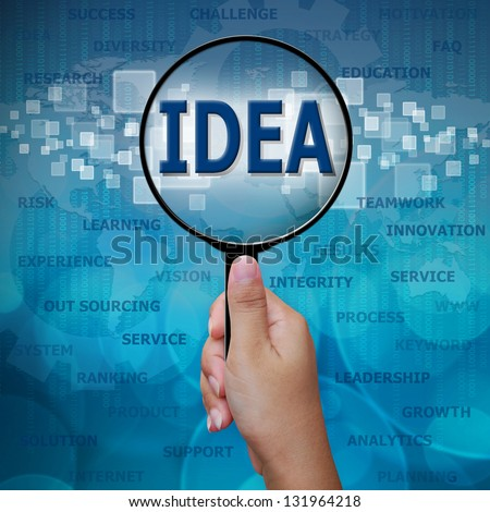 IDEA in Magnifying glass on blue background