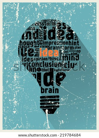 Idea in the light bulb poster - stock photo