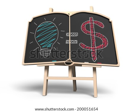 Idea is money concept on book shape blackboard isolated in white - stock photo