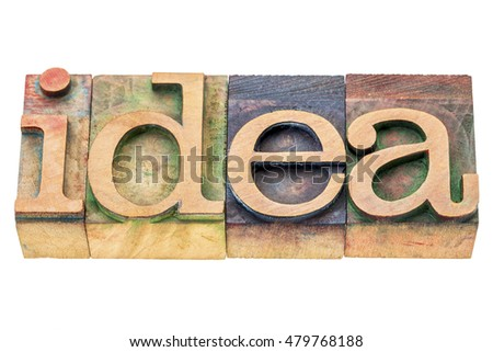 idea -isolated word abstract in letterpress wood type printing blocks stained by color inks