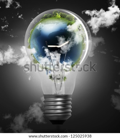 Idea ,light bulb Alternative energy concept - stock photo
