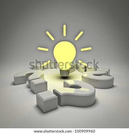 Idea light bulb amongst question marks isolated on white background - stock photo
