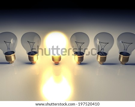 Idea light bulb concept with copyspace