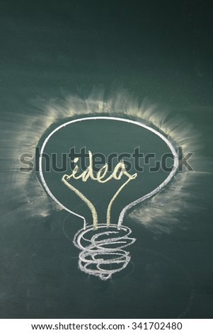 idea light bulb drawn with chalk on a blackboard
