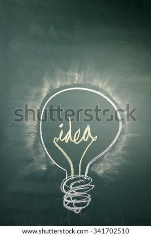 idea light bulb drawn with chalk on a blackboard - stock photo