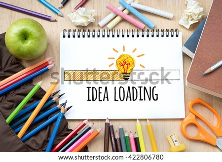 Idea loading  bar with light bulb icon.