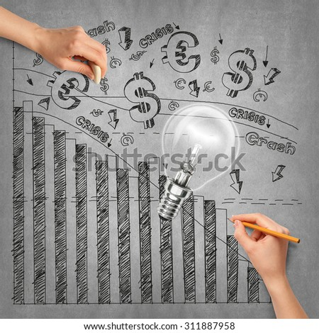 Idea money background with lamp, sketch and human hand with pencil - stock photo