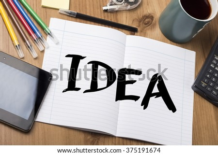 IDEA - Note Pad With Text On Wooden Table - with office  tools