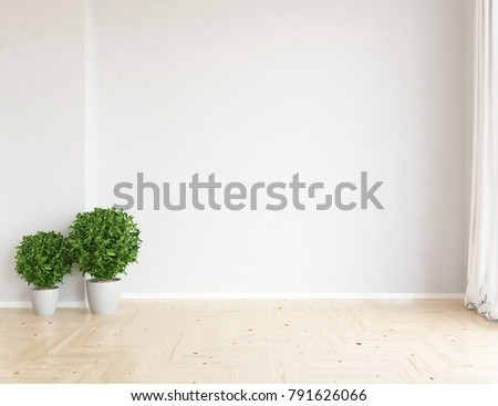 Idea White Empty Scandinavian Room Interior Stock Illustration