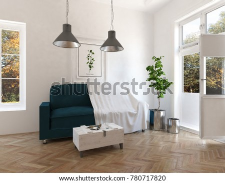 Idea of a white scandianvian room interior with sofa and autumn landscape in window. Home nordic interior. 3D illustration