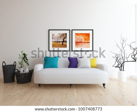 Idea of a white scandinavian living room interior with sofa and vases on the wooden floor and pictures on the large wall and white landscape in window. Home nordic interior. 3D illustration