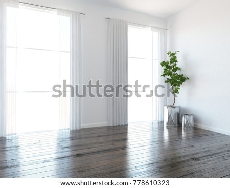 Idea Of A White Scandinavian Room Interior With Curtains And Landscape In Windows Nordic