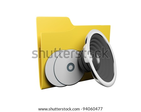Idea of an icon a folder: 3d a yellow folder for music