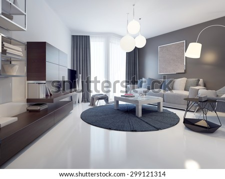Idea of contemporary living room  White and grey walls  polished and  varnish white concrete. Polished Floor Stock Images  Royalty Free Images   Vectors