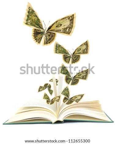 Idea of opening book on money butterflies - stock photo
