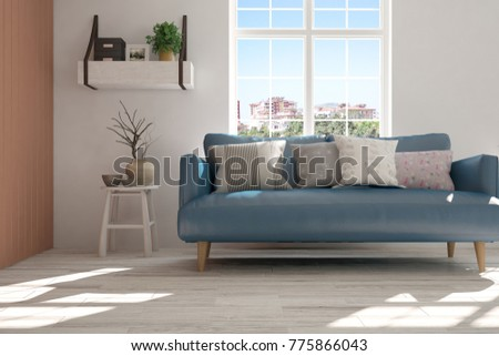 blue couches living rooms minimalist. Idea Of White Minimalist Room With Blue Sofa. Scandinavian Interior Design. 3D Illustration Couches Living Rooms