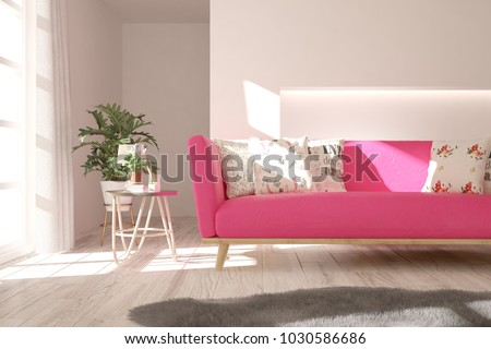Idea White Minimalist Room Pink Sofa Stock Illustration 1030586686 ...
